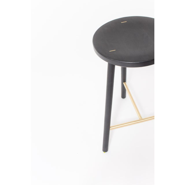 Contemporary Steven Bukowski Contemporary Scout Stool in Blackened Oak and Brass For Sale - Image 3 of 4