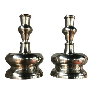 Metropolitan Museum of Art Silver Contemporary Candle Holders - a Pair