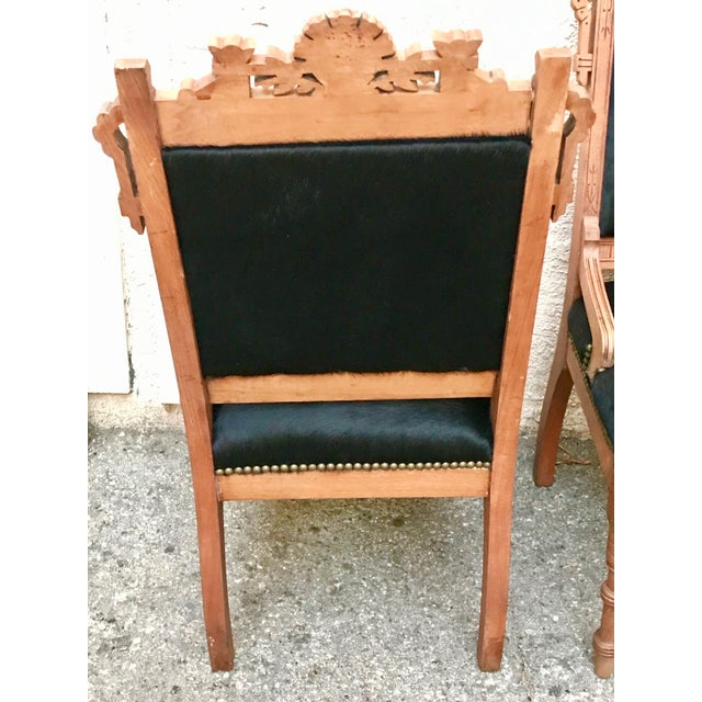 Art Deco Antique Throne Chairs Reupholstered With Black Hair on Hide - a Pair For Sale - Image 3 of 11