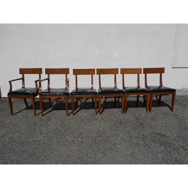 Mid-Century Patent Leather Dining Chairs - Set of 6 - Image 2 of 11