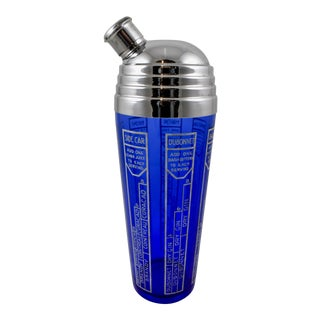Early 20th C. Art Deco Cobalt Blue Glass & Chrome Recipe Cocktail Shaker For Sale