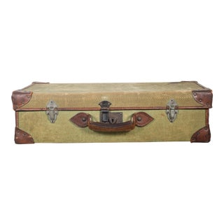 Leather/Canvas English Suitcase C.1945 For Sale