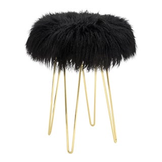 Curly Black Hairpin Brass Counter Stool For Sale