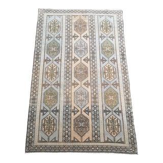 Vintage Geometric Turkish Oushak Area Rug For Sale