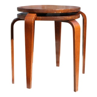 Mid-Century European Bentwood Stools or Side Tables in the Style of Alvar Aalto - a Pair For Sale