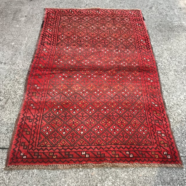 """Patterned Afghan Wool Rug - 3'6"""" X 5'8"""" For Sale - Image 13 of 13"""