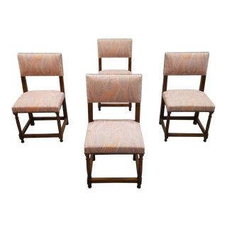 Set of 4 Jacobean Style French Oak Dining Chairs Pink Paisley Pattern Upholstery For Sale