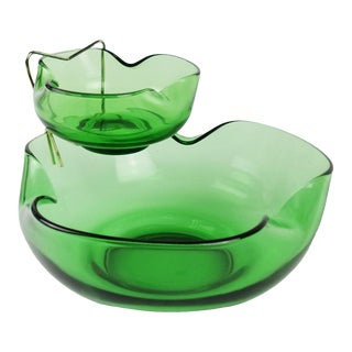 1960s Vintage Chip and Dip Serving Bowl Green Glass Mid Century - a Pair For Sale