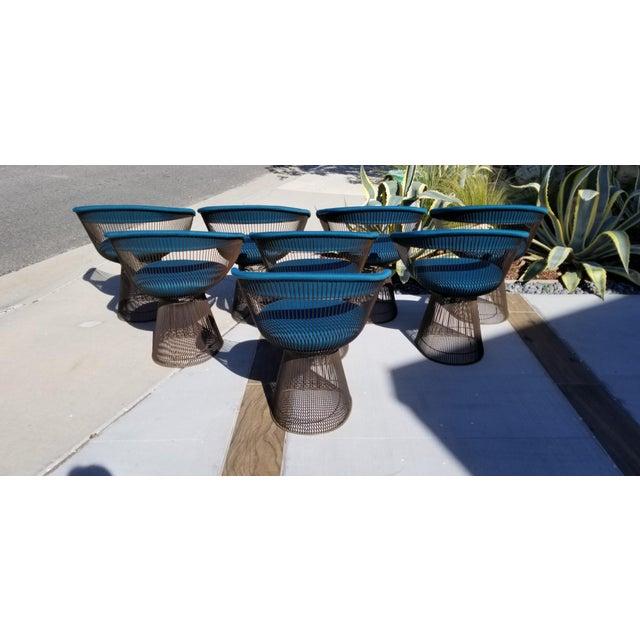 Warren Platner Vintage Mid Century Warren Platner Teal Dining Chairs- Set of 8 For Sale - Image 4 of 12