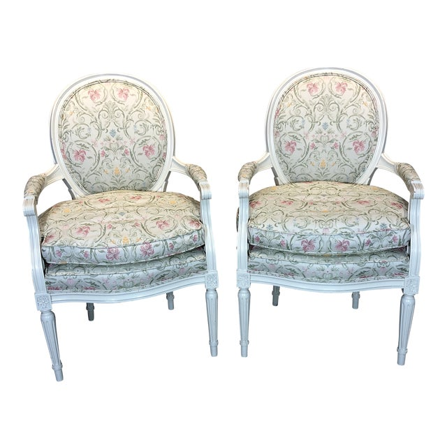 1930s Vintage French Style Upholstered Chairs- a Pair For Sale