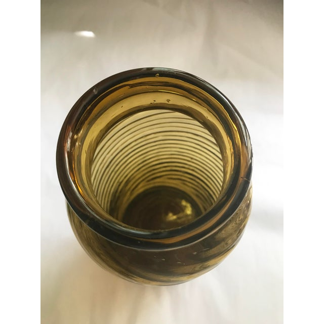 Mid-Century Modern Vintage Amber Swirl Blown Glass Vase For Sale - Image 3 of 6