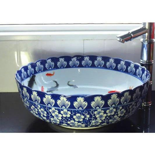 Asian Pasargad N Y Ceramic Blue and White Washing Basin For Sale - Image 3 of 3