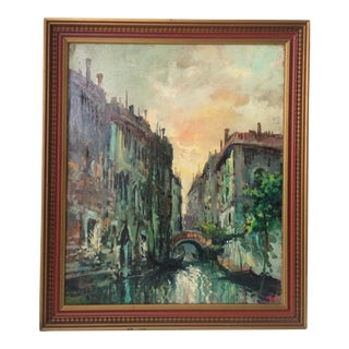 Claudio Simonetti Original Oil on Canvas Antique Painting Venice Canal at Sunset For Sale