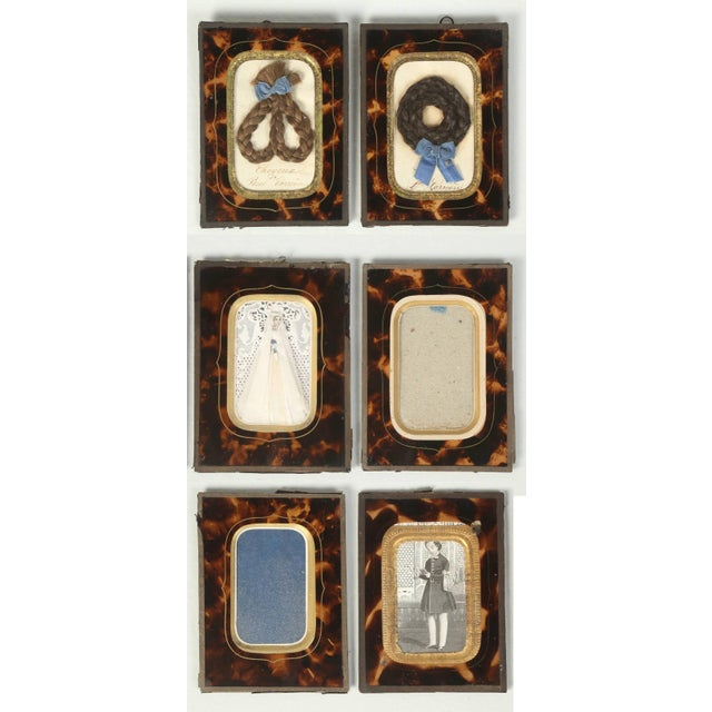 Antique French Faux Tortoiseshell Glass Picture Frames - Set of 6 For Sale - Image 11 of 11