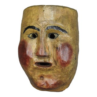 An Antique Wooden Carved And Painted Tyrolian Carnival Mask For Sale