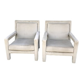 Vintage Modern Milo Baughman Style Parsons Armchairs- A Pair For Sale