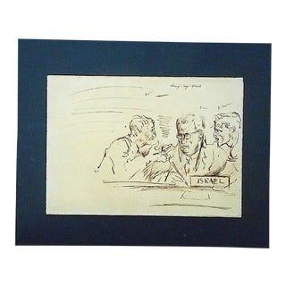 Original Vintage Mid 20th Century Drawing-D. Fredenthal-Listed American Artist-Judaica-U.N. Suez Crisis For Sale