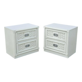 Dixie Cane Rattan Campaign Style White Hollywood Regency Nightstands - a Pair For Sale