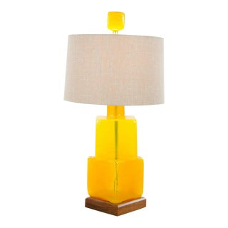 1960s Mid-Century Modern Blenko Yellow Glass Block Table Lamp For Sale