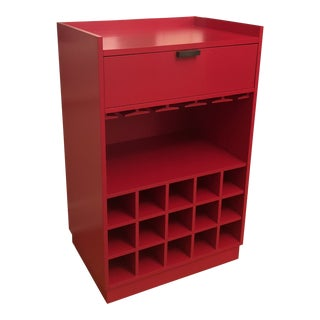 Crate & Barrel Modern Red Bar Cart For Sale