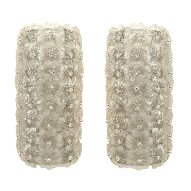 Italian Murano Wall Sconces - a Pair For Sale