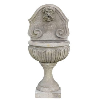 Baroque Style Petite Italian Limestone Wall Fountain For Sale