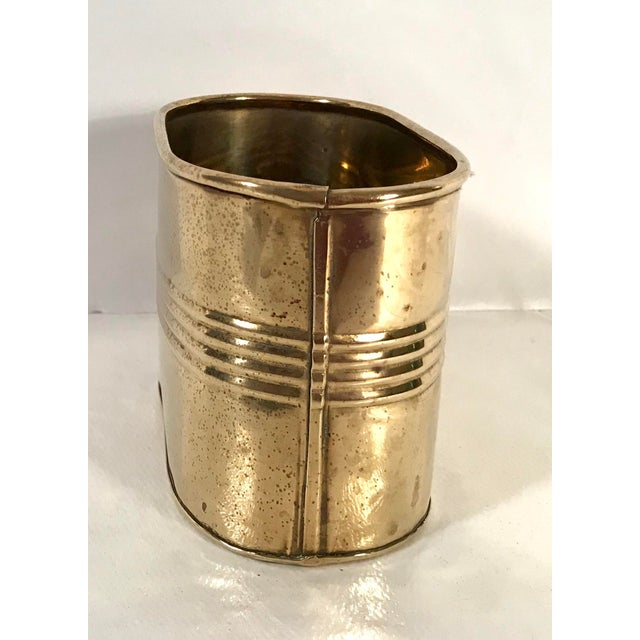 Mid Century Brass Letter Holder or Pencil Can For Sale - Image 4 of 7