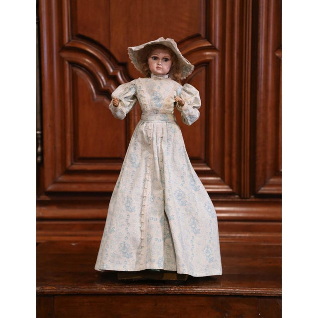 Blue Tall 19th Century French Porcelain Musical Automaton Jumeau Doll For Sale - Image 8 of 8
