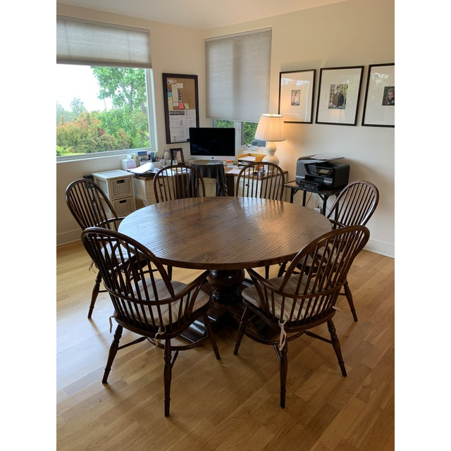 Chestnut Farmhouse Dining Table & Chairs For Sale - Image 8 of 8