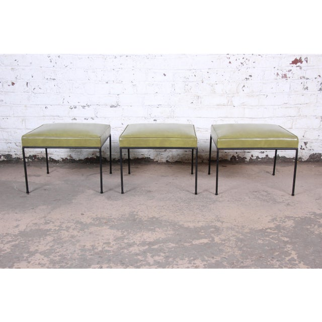 Paul McCobb Upholstered Iron Stools or Ottomans, Pair For Sale - Image 9 of 10