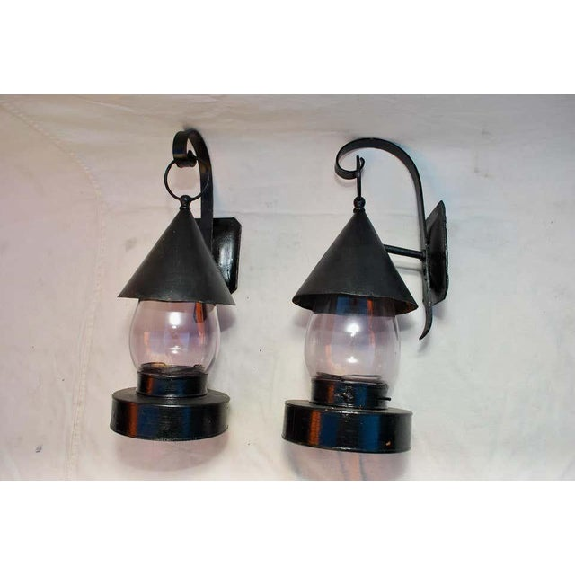 Metal Late 19th Century Outdoor Sconces With Amethyst Glass - a Pair For Sale - Image 7 of 9