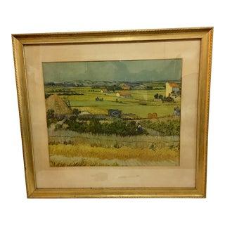 1960s Vintage Van Gogh Landscape Reproduction Print For Sale