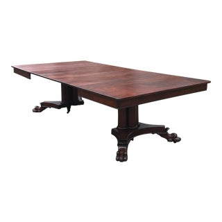 Antique Mahogany Split Pedestal Trefoil Plinth Base Dining Table For Sale