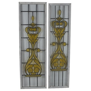 Early 20th Century Tall Leaded Stained Glass Panels- A Pair For Sale