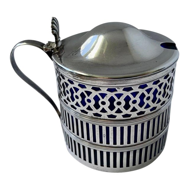 Sterling Silver Mustard Pot With a Cobalt Blue Glass Liner For Sale