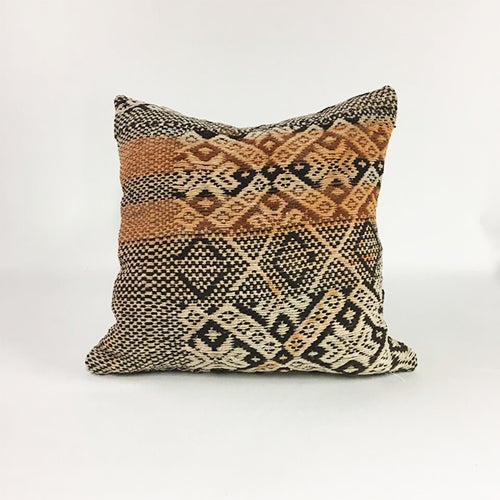 Traditional Handwoven Brown Boho Wool Pillow For Sale - Image 3 of 4