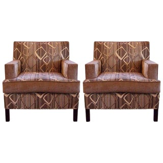 Two-Tone Chenille Upholstered Club Chairs - a Pair For Sale