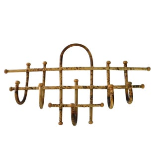 1970's Vintage Large Bamboo Wall Coat Rack For Sale
