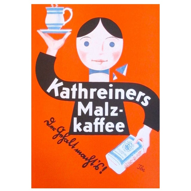Original 1927 Lithographic Mini Poster of Kaffee - Image 1 of 4