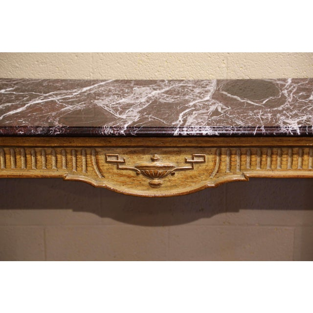 Wood Midcentury French Louis XVI Carved and Painted Console Table With Marble Top For Sale - Image 7 of 12