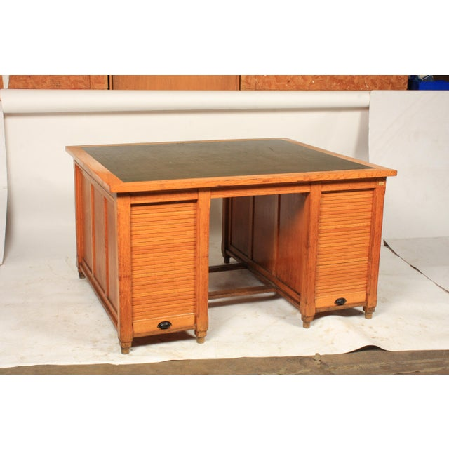 1930s Newspaper Office Partners Desk For Sale - Image 13 of 13