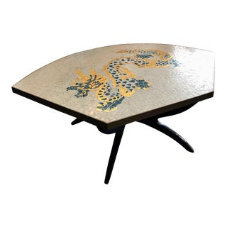Vintage 1960s Mid-Century Modern Gold Gilt Stone Dragon Mosaic Coffee Table For Sale