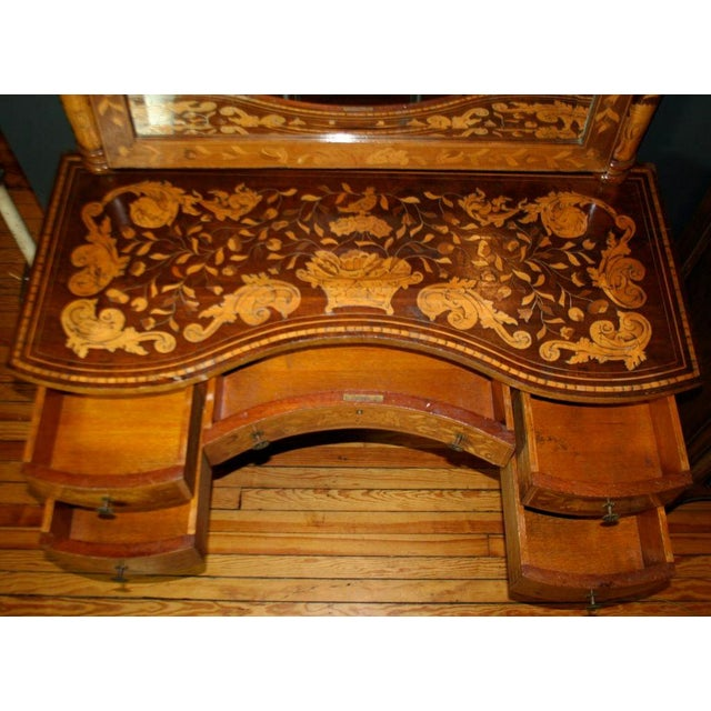 Beautiful five-drawer antique Dutch dressing table with inlaid floral marquetry, bevelled mirror with posts and crown,...