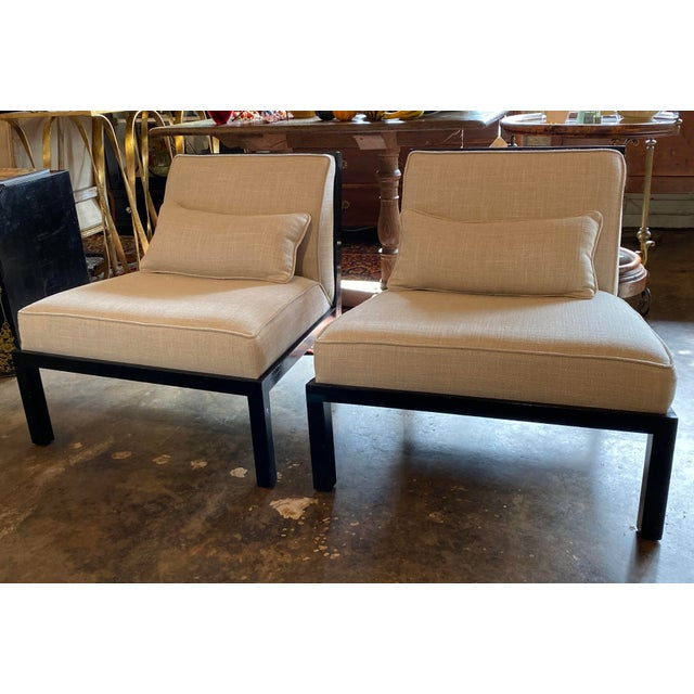 Mid Century Asian Modern Black Slipper Chairs - a Pair For Sale - Image 10 of 11