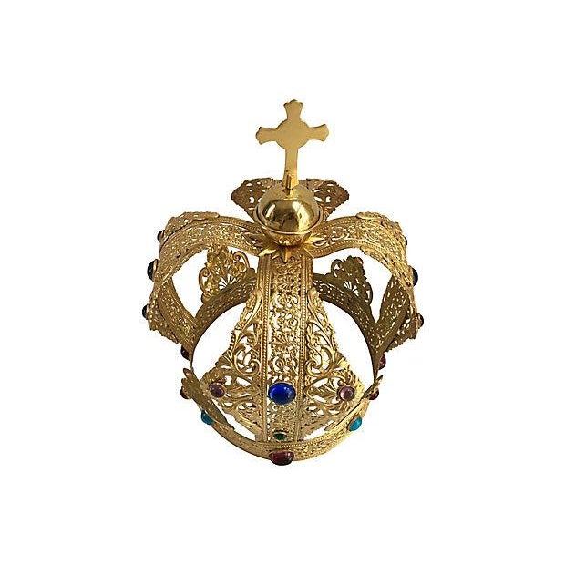 Hollywood Regency Vintage Brass Filigree Cabochon Crown For Sale - Image 3 of 5
