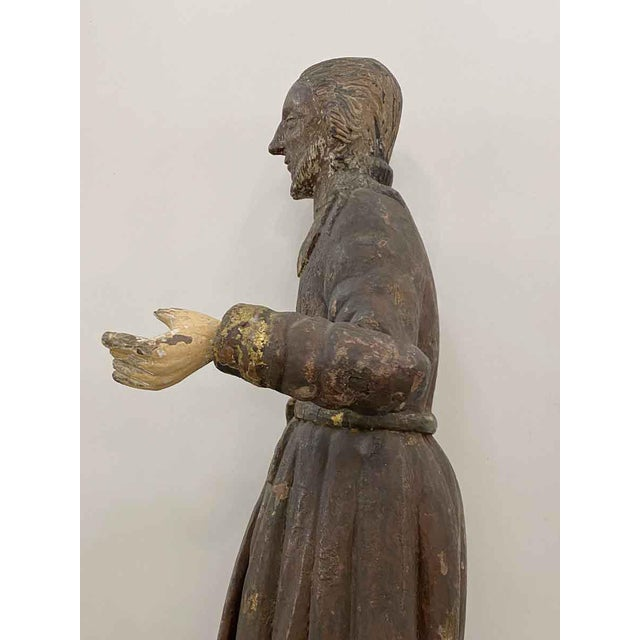 Antique San Isidro 32 In. Wood Statue For Sale - Image 9 of 13