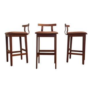 Korup Stolefabrik Danish Modern Teak & Leather Bar Stools - Set of 3
