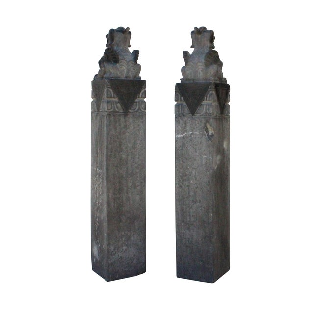 2010s Chinese Pair Gray Black Color Stone Fengshui Pixiu Tall Slim Pole Statue For Sale - Image 5 of 11