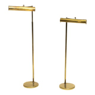 Pair of American Modern Adjustable Brass Floor Lamps, Castelli For Sale