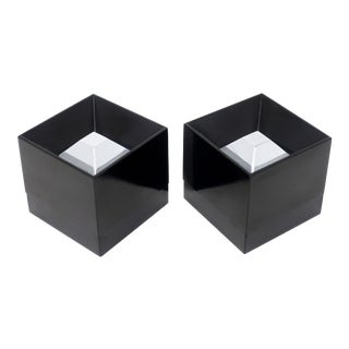 Pair of Chrome and Black Plastic Ashtrays by Halm for Hoffritz For Sale